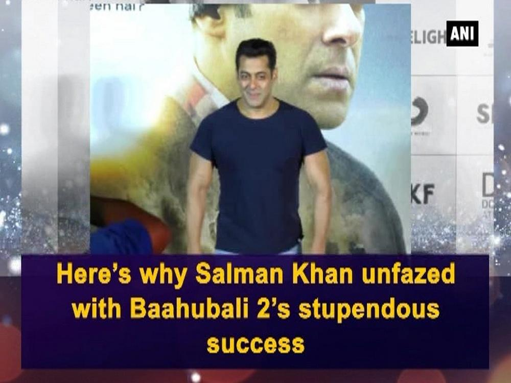 SS Rajamouli's 'Baahubali 2: The Conclusion' which is still unstoppable at the Box-Office doesn't bother Sallu Bhai. Do you know why? Well the reason will surely blow your mind. At the recently-held trailer launch in Mumbai, Salman shared a very logical reason which has left him unfazed with the fact whether 'Tubelight' can overtake 'Baahubali 2' or not. The 'Bajrangi Bhaijaan' actor said that he is not worried about the business of a film as he thinks every movie has its own destiny. He also said that after Baahubali: The Beginning, was released, they came up with 'Bajrangi Bhaijaan' and now after 'Baahubali 2: The Conclusion', they are again coming up with 'Tubelight'. Lauding the success of Baahubali, the actor said that the pressure is on the CEO of Salman Khan Films and he doesn't have to worry.  Adding more to it, he said that it is a phenomenal success and it is amazing. He has not seen the film yet but will surely watch it. Meanwhile, Salman Khan is gearing up for the release of 'Tubelight', which also features Chinese actress Zhu Zhu. Tubelight, directed by Kabir Khan, is scheduled for Eid.