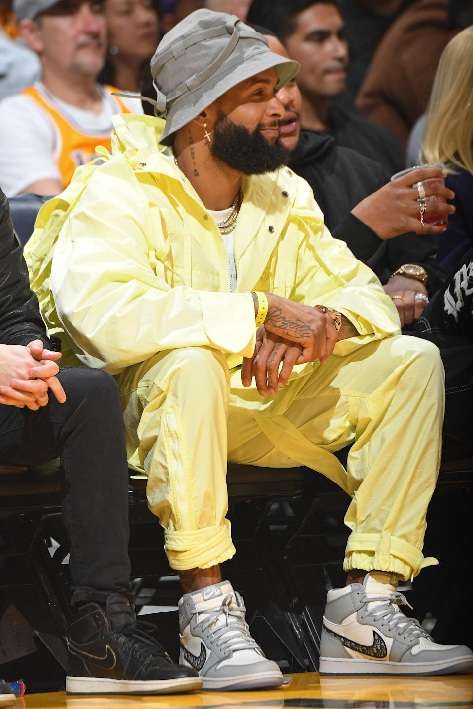<p>WHAT: Louis Vuitton and Dior Air Jordan sneakers </p> <p>WHERE: The Nets-Lakers game in Los Angeles </p> <p>WHEN: March 11, 2020 </p> <p>WHY: Even when he's just a spectator, OBJ commands all the attention. </p>