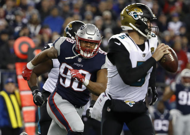 New England Patriots defensive end Trey Flowers chases down Jacksonville Jaguars quarterback Blake Bortles during the AFC championship game. (AP)