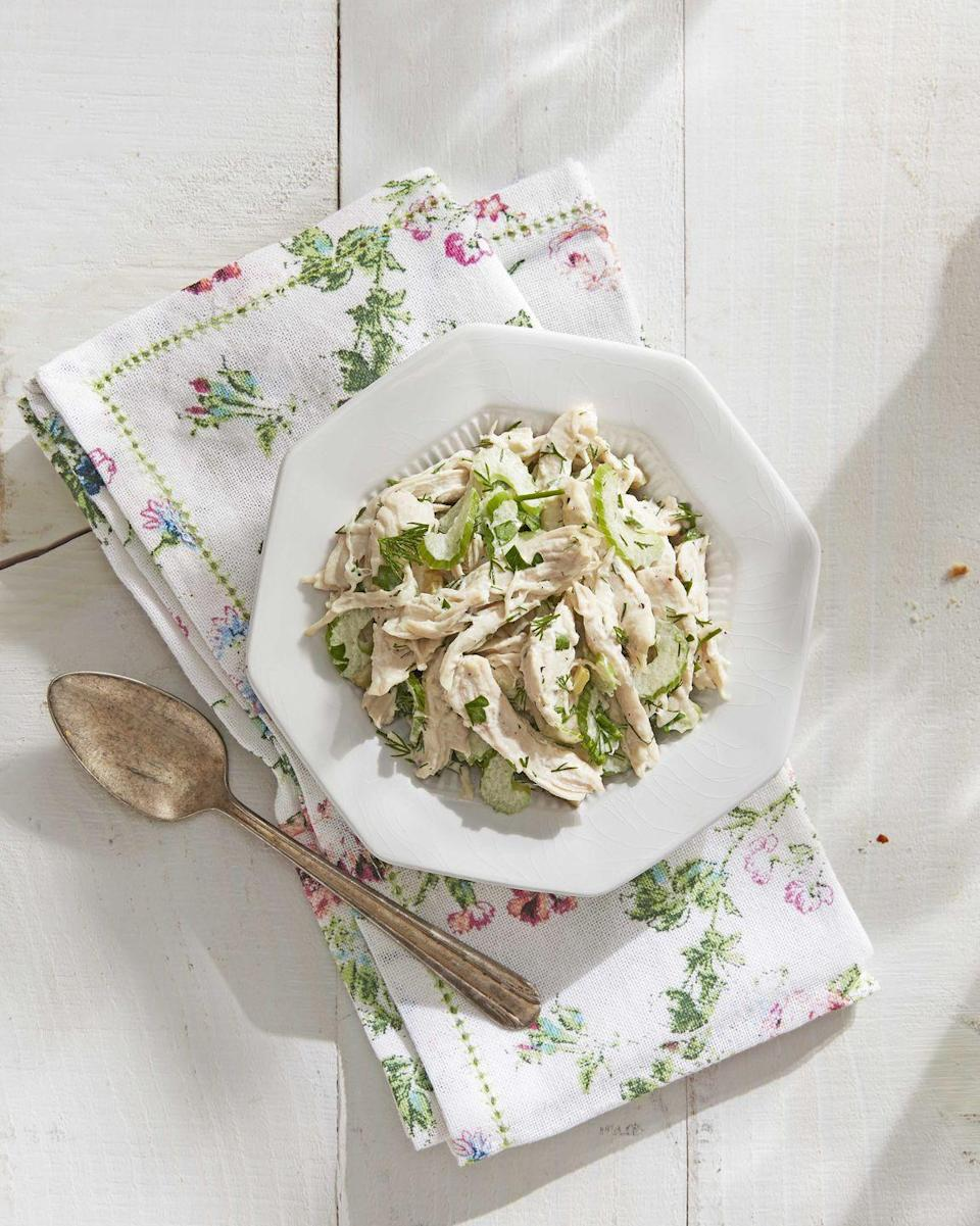 "<p>So long, bland chicken salad. Loads of fresh herbs and briny dill pickles make for a classic chicken bursting with flavor. <strong><br><a href=""https://www.countryliving.com/food-drinks/a30614424/updated-classic-chicken-salad-recipe/"" rel=""nofollow noopener"" target=""_blank"" data-ylk=""slk:Get the recipe."" class=""link rapid-noclick-resp""><br>Get the recipe.</a></strong></p>"