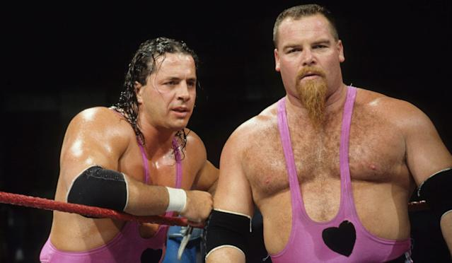 "Bret ""The Hitman"" Hart and his brother-in-law, the late Jim ""The Anvil"" Neidhart, will be enshrined and recognized for their impact on WWE and tag-team wrestling in particular. (Photo courtesy WWE)"