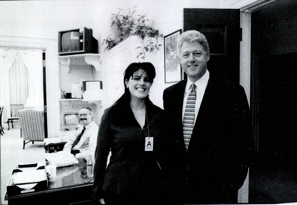 Monica Lewinsky depicted with former president Bill Clinton in 1998. (Photo: Getty Images)