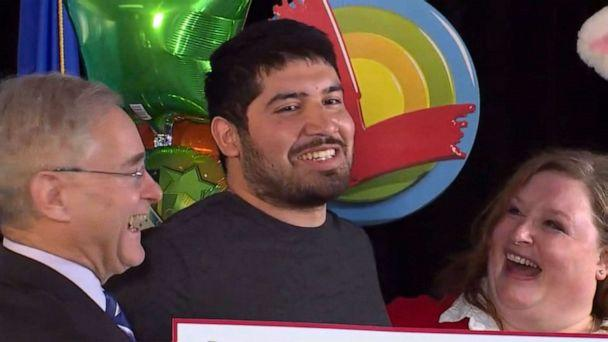 PHOTO: Manuel Franco is named the winner of a $768 million Powerball jackpot during a press conference in Madison, Wis., April 23, 2019. (WITI-FOX)
