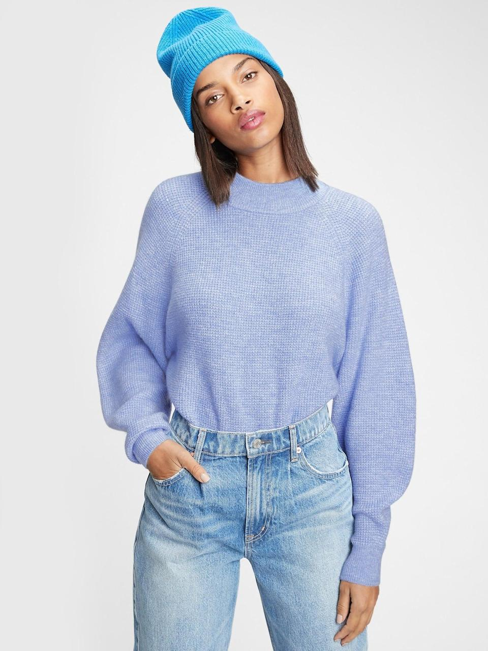 <p>The color and shape of this <span>Gap Waffle-Stitch Mockneck Sweater</span> ($45, originally $70) is so pretty.</p>