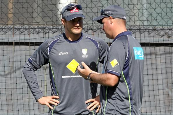 ADELAIDE, AUSTRALIA - NOVEMBER 21: Shane Watson talks to Mickey Arthur during an Australian training session at Adelaide Oval on November 21, 2012 in Adelaide, Australia.  (Photo by Morne de Klerk/Getty Images)