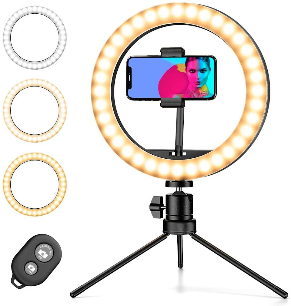 """<p>If you love making TikToks, this <span>Amada 10"""" Selfie Ring Light with Tripod Stand &amp; Phone Holder</span> ($12) is a must. </p>"""