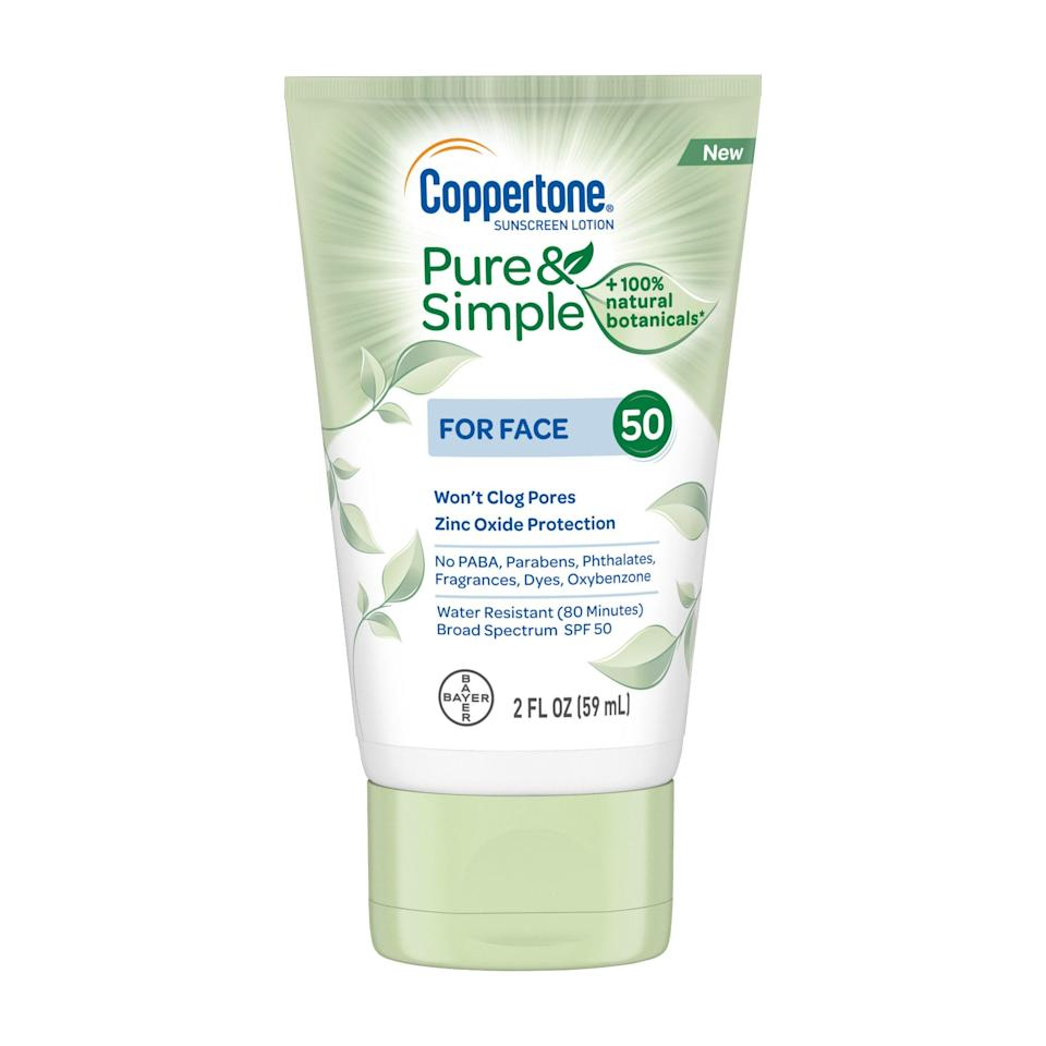 Got sensitive skin? Coppertone's new Pure & Simple sunscreen (which previously was comprised solely of products for the <em>bébé</em>) was formulated to soothe easily irritated complexions. It's made with calming tea leaf, sea kelp, and lotus extracts, in addition to zinc oxide for mineral protection.