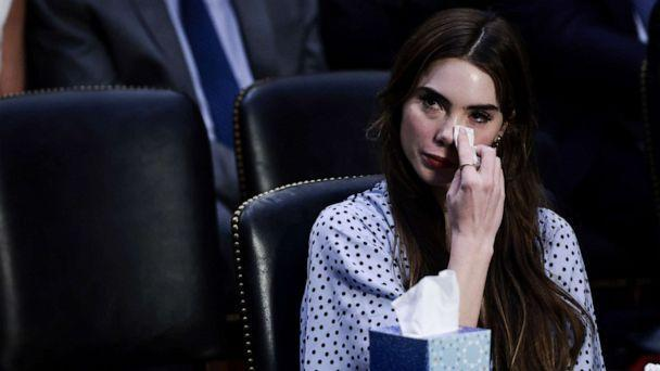 PHOTO: U.S. Olympic Gymnast McKayla Maroney wipes tears from her eyes during a Senate Judiciary hearing about the inspector general's report on the FBI handling of the Larry Nassar investigation of sexual abuse, on Sept. 15, 2021 in Washington, DC. (Anna Moneymaker/Getty Images)