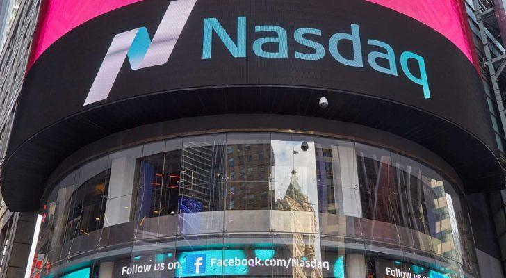 Bright signs for Nasdaq (NDAQ) cover the Nasdaq building in Times Square.