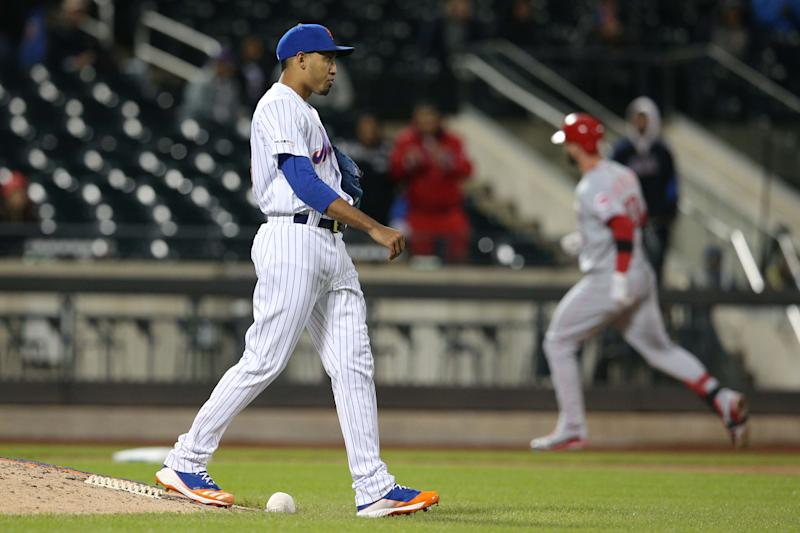 Apr 29, 2019; New York City, NY, USA; New York Mets relief pitcher Edwin Diaz (39) reacts after giving up the game winning home run to Cincinnati Reds left fielder Jesse Winker (33) during the ninth inning at Citi Field. Mandatory Credit: Brad Penner-USA TODAY Sports