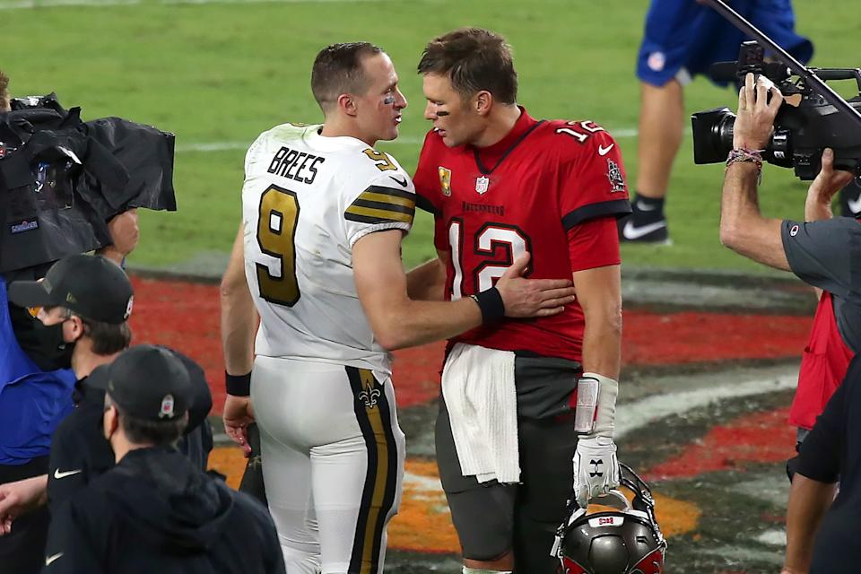 In case you missed it, and you probably did, here's Drew Brees consoling Tom Brady Sunday night. (Photo by Cliff Welch/Icon Sportswire via Getty Images)