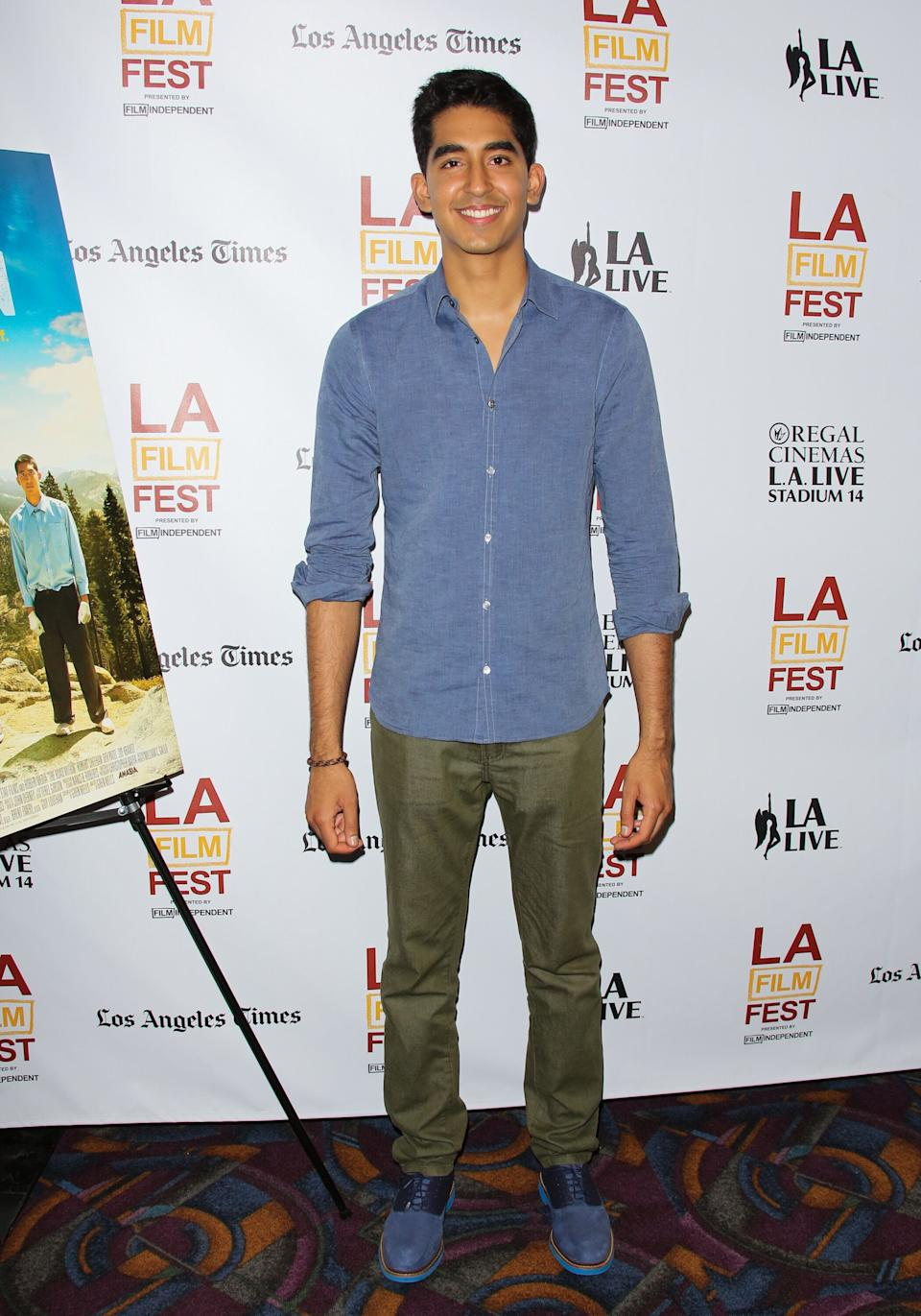 """Patel at the premiere of """"The Road Within"""" at the Los Angeles Film Festival at Regal Cinemas L.A. Live on June 18, 2014."""