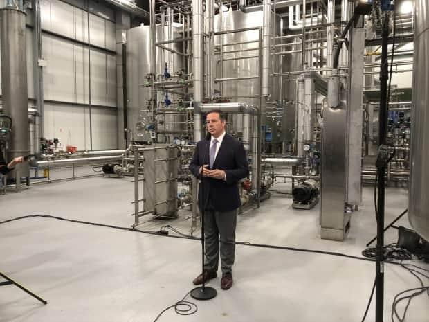 Alberta Premier Jason Kenney last appeared publicly at a news conference on Aug. 9, 2021, at the Labatt brewing plant in Edmonton. (Janet French/CBC - image credit)