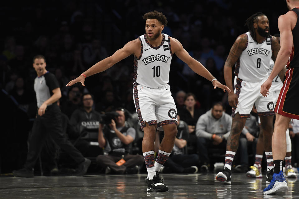 """Justin Anderson gets some minutes with the <a class=""""link rapid-noclick-resp"""" href=""""/nba/teams/brooklyn/"""" data-ylk=""""slk:Brooklyn Nets"""">Brooklyn Nets</a> in January. (Photo by Sarah Stier/Getty Images)"""