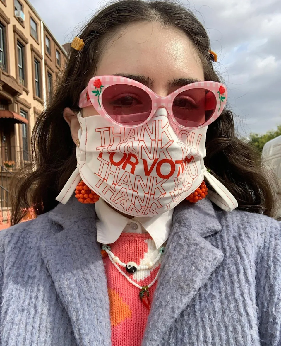 """<h3>Piehole Mask</h3><br>We know that masks are here to stay for the foreseeable future, so why not gift your family and friends a few special face coverings that are extra stylish? 100% of the profits from this Thank You For Voting Mask will be donated to <a href=""""http://votolatino.org"""" rel=""""nofollow noopener"""" target=""""_blank"""" data-ylk=""""slk:Voto Latino"""" class=""""link rapid-noclick-resp"""">Voto Latino</a>, <a href=""""http://blackvotersmatterfund.org"""" rel=""""nofollow noopener"""" target=""""_blank"""" data-ylk=""""slk:Black Voters Matter"""" class=""""link rapid-noclick-resp"""">Black Voters Matter</a>, and <a href=""""http://flipthesenate.com"""" rel=""""nofollow noopener"""" target=""""_blank"""" data-ylk=""""slk:Flip The Senate"""" class=""""link rapid-noclick-resp"""">Flip The Senate</a>. <br><br><strong>Piehole</strong> Thank You For Voting Mask, $, available at <a href=""""https://go.skimresources.com/?id=30283X879131&url=https%3A%2F%2Fpiehole.bigcartel.com%2Fproduct%2Fthank-you-for-voting"""" rel=""""nofollow noopener"""" target=""""_blank"""" data-ylk=""""slk:Piehole"""" class=""""link rapid-noclick-resp"""">Piehole</a>"""