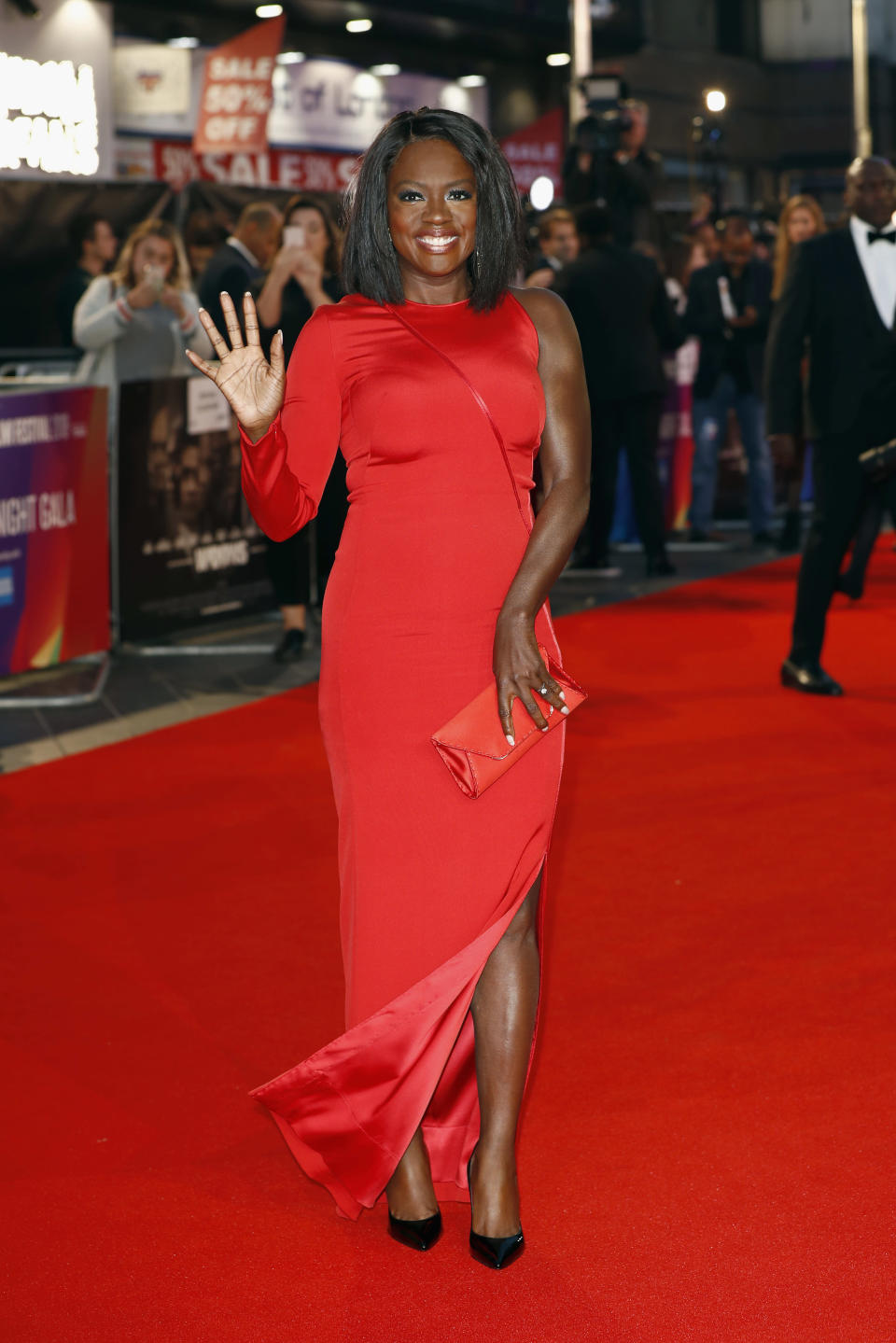"""<p>Viola wowed in a form-fitting, one-shoulder dress by Akris on the red carpet in London for the European premiere of """"Widows"""" on October 10. <em>[Photo: Getty]</em> </p>"""