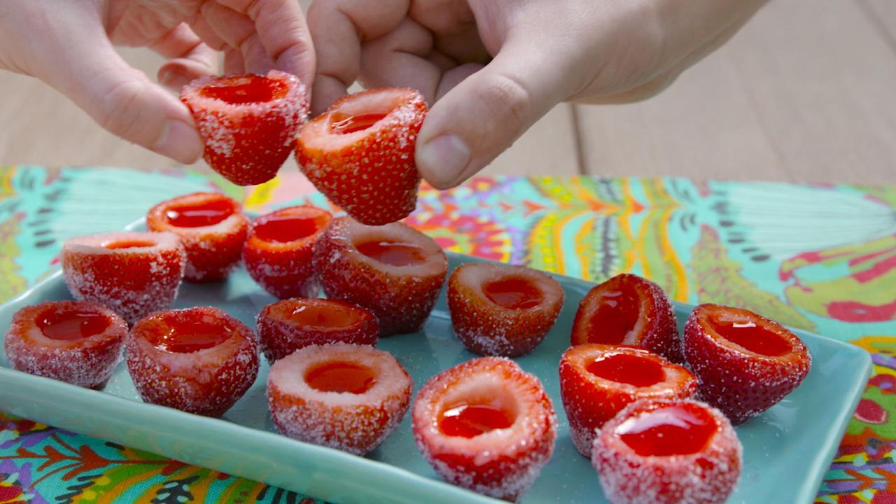 "<p>Strawberries as shot glasses = genius.</p><p>Get the recipe from <a rel=""nofollow"" href=""http://www.delish.com/cooking/recipe-ideas/recipes/a47402/strawberry-daiquiri-jello-shots-recipe/"">Delish</a>.</p>"