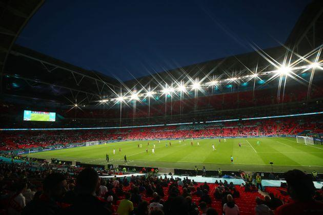 LONDON, ENGLAND - JUNE 22:  A general view of Wembley Stadium during the UEFA Euro 2020 Championship Group D match between Czech Republic and England at Wembley Stadium on June 22, 2021 in London, United Kingdom. (Photo by Marc Atkins/Getty Images) (Photo: Marc Atkins via Getty Images)