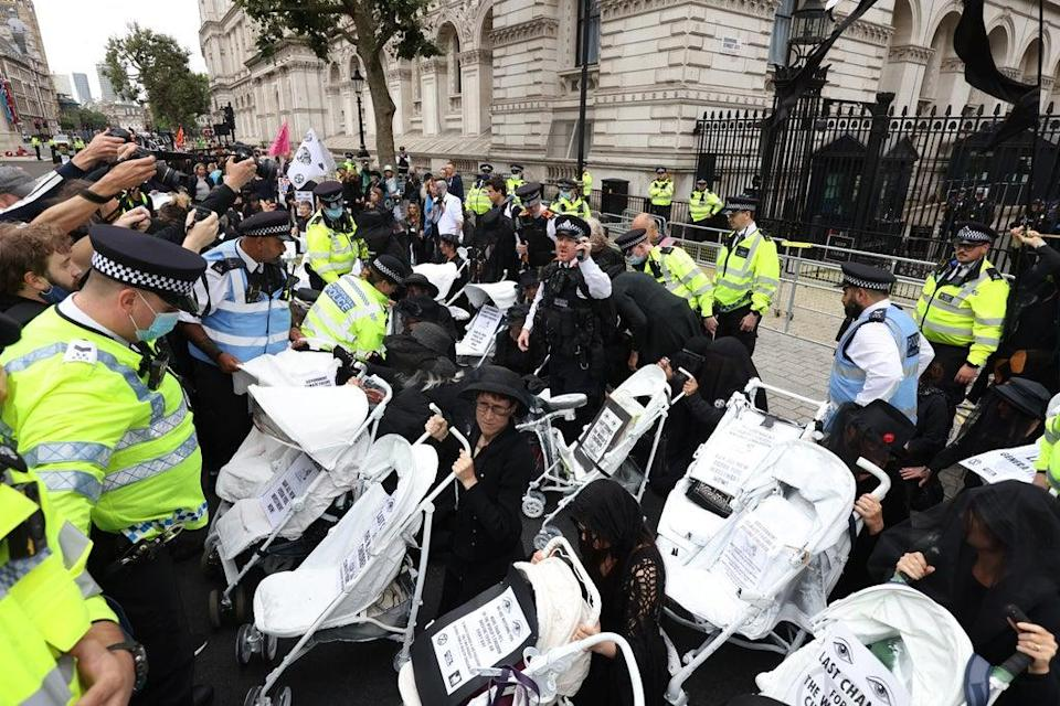 Demonstrators on Whitehall (James Manning/PA) (PA Wire)