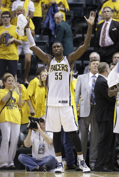 Indiana Pacers center Roy Hibbert reacts on the bench during the second half of Game 6 of the NBA Eastern Conference basketball finals against the Miami Heat in Indianapolis, Saturday, June 1, 2013. Pacers won 91-77. (AP Photo/Michael Conroy)