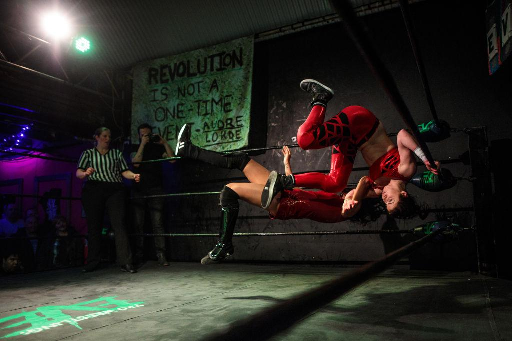 <p>Wrestlers perform during an all-female wrestling event on International Women's Day at the Resistance Gallery in Bethnal Green on March 8, 2019 in London, England. EVE is an all-female professional wrestling show, founded in 2010 by Emily Read and her husband Dann. The night features costumed performers wrestling against one another in rehearsed contests. (Photo from Jack Taylor/Getty Images) </p>
