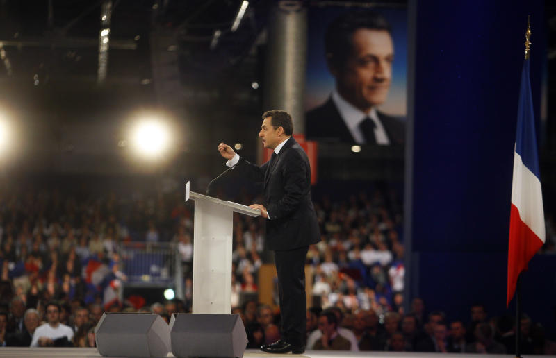 France's President and candidate for the upcoming election, Nicolas Sarkozy delivers his speech during a meeting in Villepinte, north of Paris, France, as part of his electoral campaign, Sunday March 11, 2012. (AP Photo/Francois Mori)