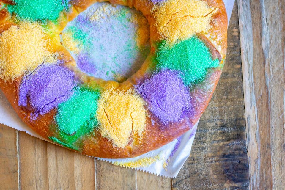 A king cake from Hi-Do Bakery located outside New Orleans.