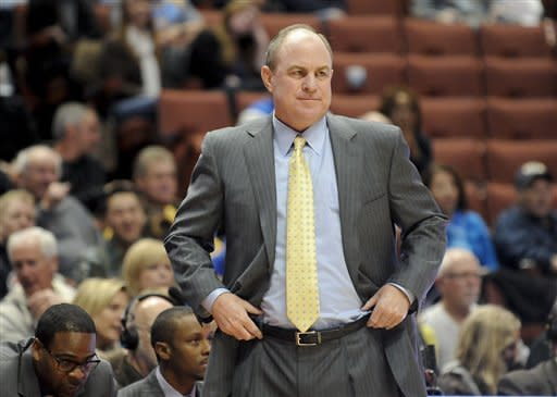 UCLA head coach Ben Howland reacts to an officials call during the first half of an NCAA college basketball game against Arizona State, Saturday, Jan. 7, 2012, in Anaheim, Calif. (AP Photo/Gus Ruelas)
