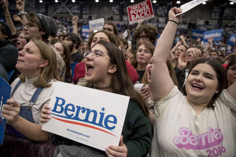 Members of the audience cheer as Democratic presidential candidate Sen. Bernie Sanders, I-Vt., speaks at a campaign stop at the Whittemore Center Arena at the University of New Hampshire, Monday, Feb. 10, 2020, in Durham, N.H. (Andrew Harnik/AP)