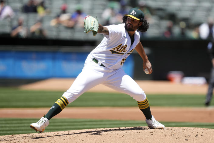 Oakland Athletics starting pitcher Sean Manaea delivers against the Arizona Diamondbacks during the second inning of a baseball game Wednesday, June 9, 2021, in Oakland, Calif. (AP Photo/Tony Avelar)