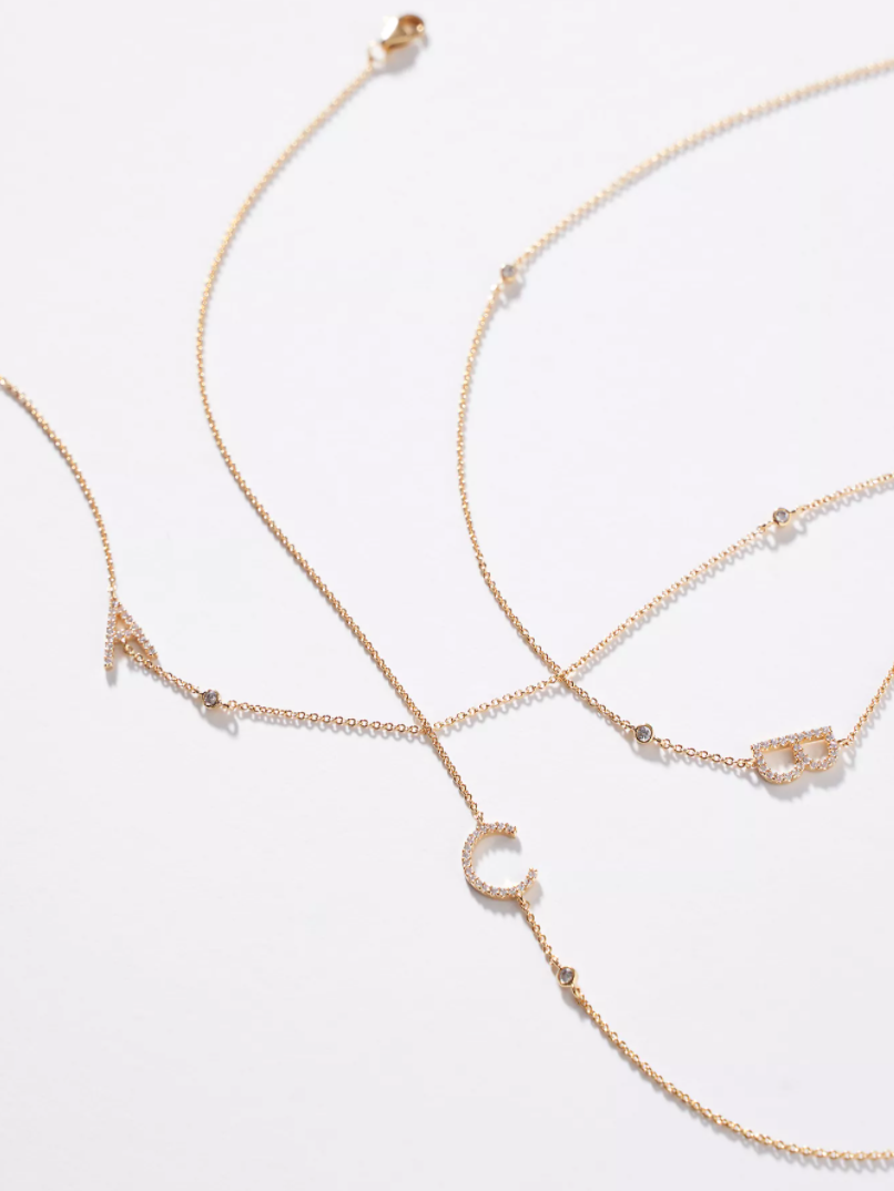 "<br><br><strong>Anthropologie</strong> Delicate Monogram Necklace, $, available at <a href=""https://go.skimresources.com/?id=30283X879131&url=https%3A%2F%2Fwww.anthropologie.com%2Fshop%2Fdelicate-monogram-necklace3"" rel=""nofollow noopener"" target=""_blank"" data-ylk=""slk:Anthropologie"" class=""link rapid-noclick-resp"">Anthropologie</a>"