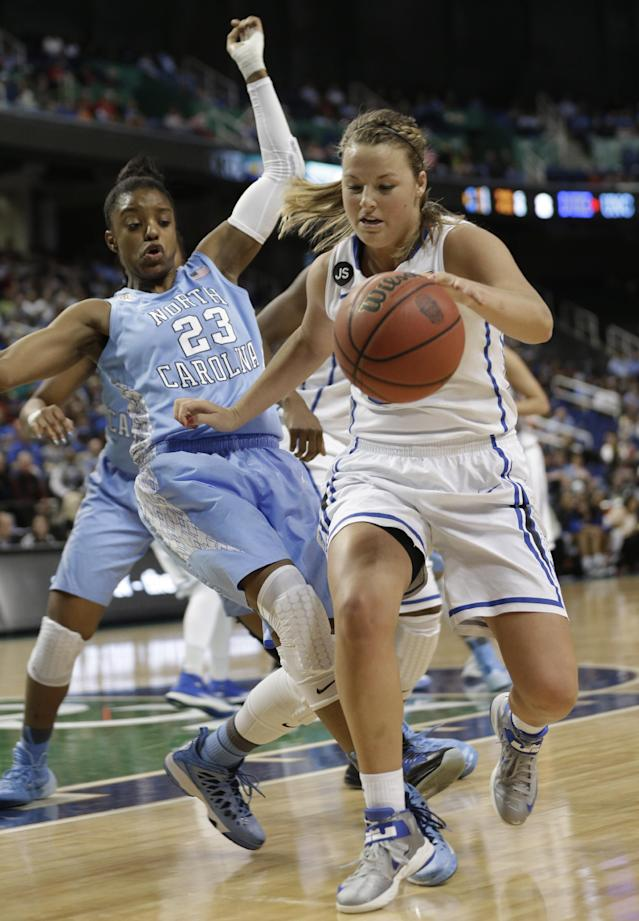 Duke's Tricia Liston, right, pushes North Carolina's Diamond DeShields, left, as she drives to the basket during the first half of an NCAA college basketball semi-final game at the Atlantic Coast Conference tournament in Greensboro, N.C., Saturday, March 8, 2014. Liston was called for a foul on the play. (AP Photo/Chuck Burton)