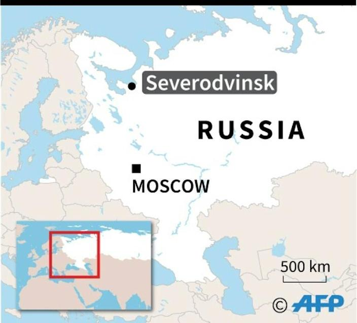 Map of Russia locating explosion in Severodvinsk. (AFP Photo/)