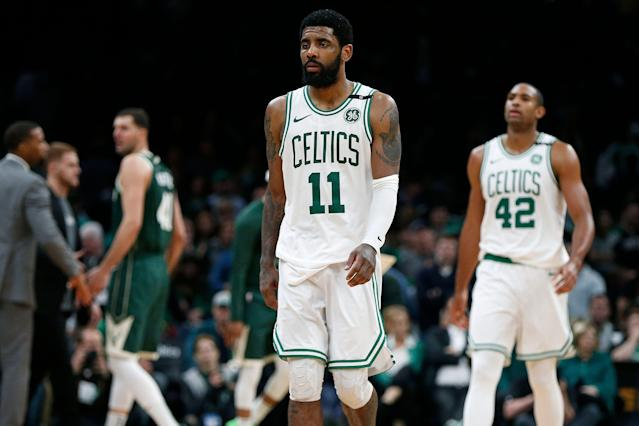Kyrie Irving sought happiness and perfection in Boston. It seems he has yet to achieve either. (AP)