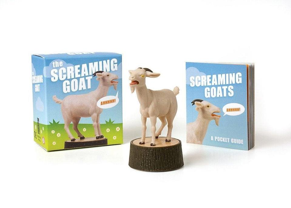 """<h2>The Screaming Goat (Book and Figurine Set)<br></h2><br><strong>What is it? </strong>A noise-making toy and accompanying trivia book based on an <a href=""""https://knowyourmeme.com/memes/yelling-goat"""" rel=""""nofollow noopener"""" target=""""_blank"""" data-ylk=""""slk:early-internet viral video"""" class=""""link rapid-noclick-resp"""">early-internet viral video</a><br><br><strong>What's the hottest take?</strong> """"I keep screaming, but God doesn't hear me,"""" lamented <a href=""""https://www.amazon.com/gp/customer-reviews/R30JP4CUD4V407/ref=cm_cr_getr_d_rvw_ttl?ie=UTF8&ASIN=0762459816"""" rel=""""nofollow noopener"""" target=""""_blank"""" data-ylk=""""slk:reviewer Lofti M"""" class=""""link rapid-noclick-resp"""">reviewer Lofti M</a>. """"Have you ever wanted to let your coworkers know that you're not interested in what Tina did last night on 'Married at First Sight'? What about when Ted starts talking again about his failures on PlentyofFish?<br><br>Let's face it, we've all be there. We've all quietly screamed into the void and just wanted it all to stop, but letting that out is rude and might get you a visit from HR.<br><br>Luckily there's a better option, a tiny screaming goat that will let your coworkers know how you really feel about things! And everyone will laugh even though they, like you, are feeling horribly uncomfortable right now.""""<br><br><strong>RP Minis</strong> Screaming Goat (Book and Figure), $, available at <a href=""""https://amzn.to/35C7p1l"""" rel=""""nofollow noopener"""" target=""""_blank"""" data-ylk=""""slk:Amazon"""" class=""""link rapid-noclick-resp"""">Amazon</a>"""