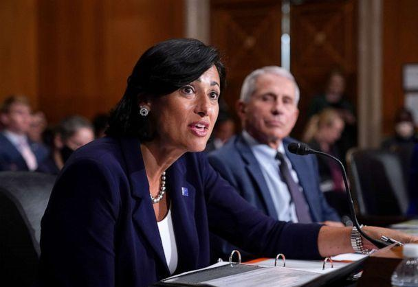 PHOTO: Dr. Rochelle Walensky, director of the Centers for Disease Control and Prevention, and top infectious disease expert Dr. Anthony Fauci testify before the Senate Health, Education, Labor, and Pensions Committee, July 20, 2021, in Washington, DC. (J. Scott Applewhite/Getty Images)
