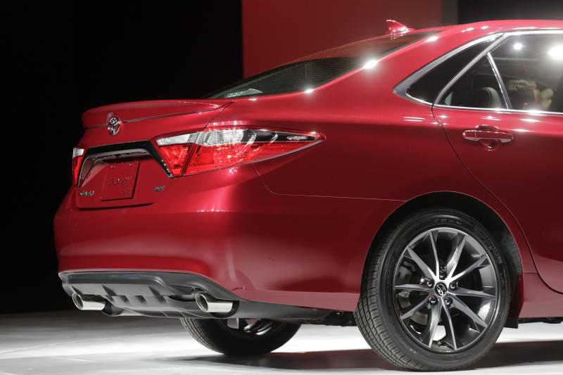 The rear of the 2015 Toyota Camry is shown at the New York International Auto Show, Wednesday, April 16, 2014 in New York. (AP Photo/Mark Lennihan)