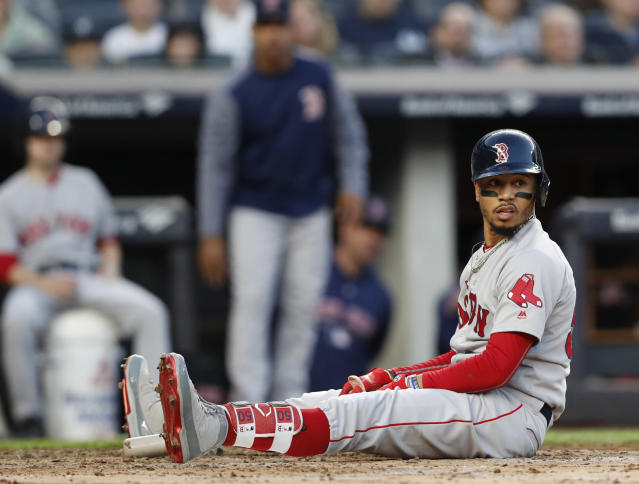Boston Red Sox outfielder Mookie Betts is hitting .360/.440/.772, playing his typically elite outfield, and running the bases with grand skill. (AP)