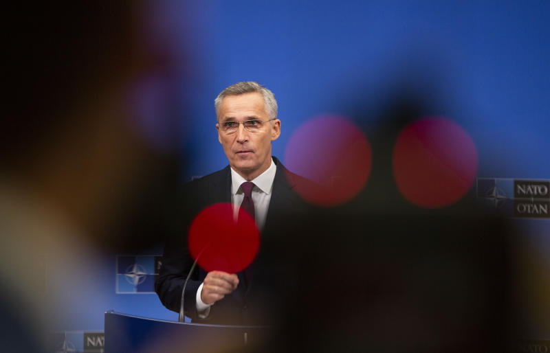 NATO Secretary General, Jens Stoltenberg speaks during a media conference at NATO headquarters in Brussels, Friday, Nov. 29, 2019. (AP Photo/Virginia Mayo)