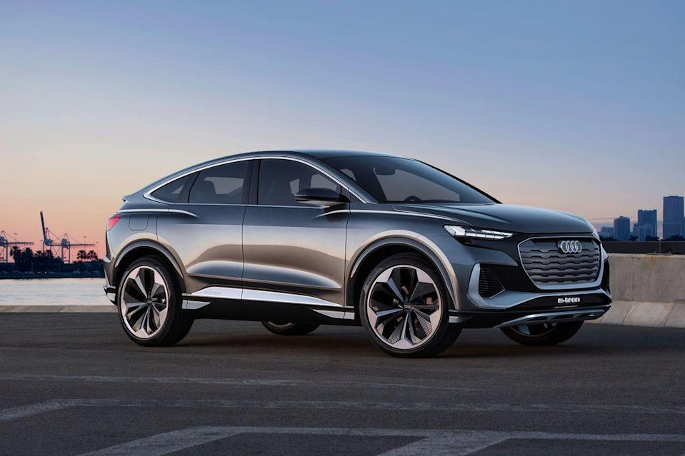 <p>Audi can't stop adding electric SUVs to its line-up, with an eye on dominating what is clearly a hot category. Smaller and sportier than the original e-tron which came out in 2018, this Q4 carries the same curvy lines and imposing plastic grille that distinguish the brand's electric SUVs from its petrol ones.</p><p>With an electric motor on each axle, the Q4 e-tron produces 300 horsepower for a 0-62 mph time of 6.3 seconds. Refined, solid and capable seem to be Audi's watchwords in this category, and who can blame them.</p>