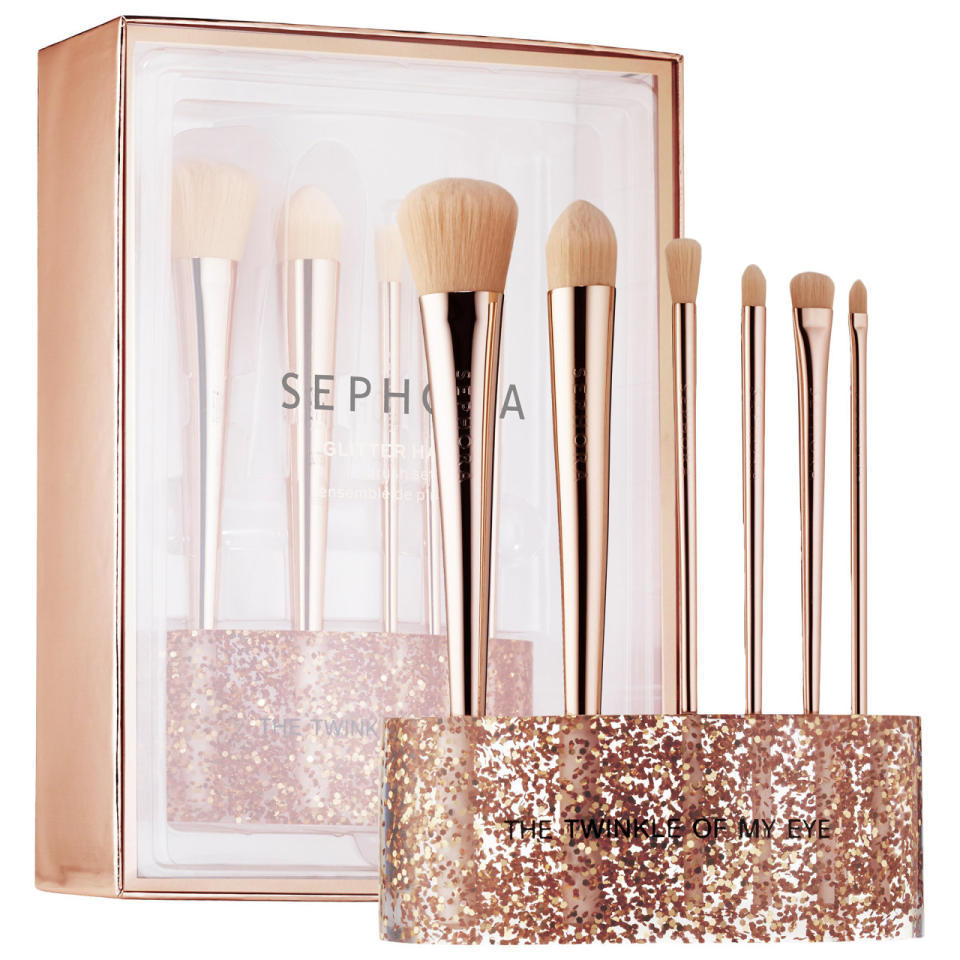 "<p>A vanity-ready stand with every brush you need for face, eyes, and lips. <b><a href=""http://www.sephora.com/glitter-happy-brush-set-P400716?skuId=1718394"">Sephora Collection Glitter Happy Brush Set</a> ($85)</b></p>"