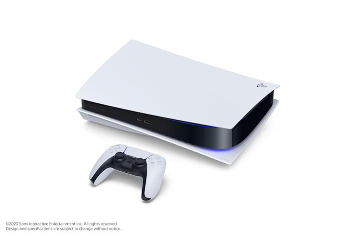The PlayStation 5 digital console and standard version (at right) and DualSense controller