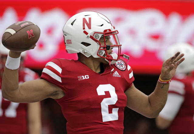 Nebraska quarterback Adrian Martinez (2) warms up before an NCAA college football game against Colorado in Lincoln, Neb., Saturday, Sept. 8, 2018. (AP Photo/Nati Harnik)