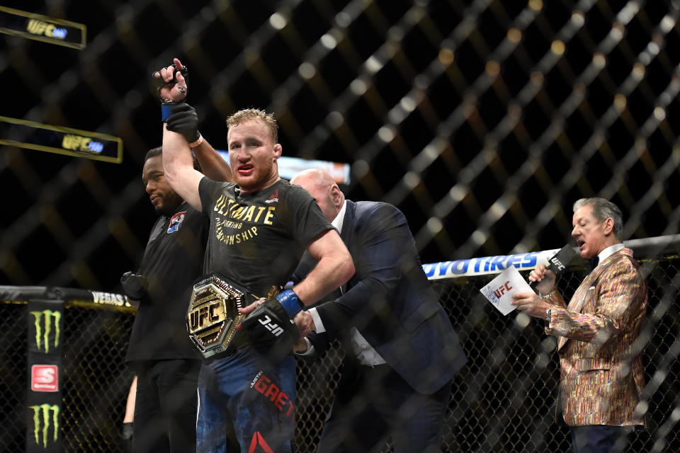 FILE PHOTO: Justin Gaethje celebrates after defeating Tony Ferguson in their Interim lightweight title fight during UFC 249 at VyStar Veterans Memorial Arena on May 09, 2020 in Jacksonville, Florida. (Photo: Douglas P. DeFelice/Getty Images)