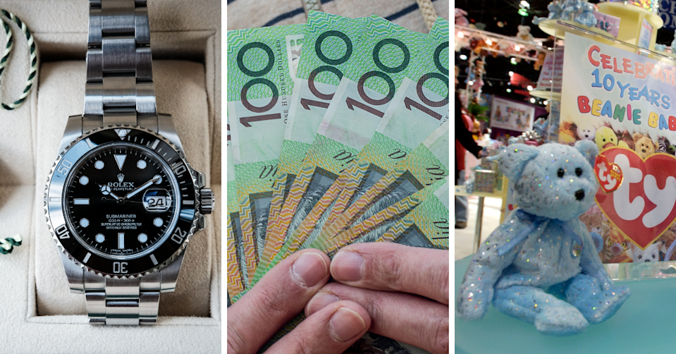 A rolex watch, hands holding $100 notes and a TY Beanie Baby