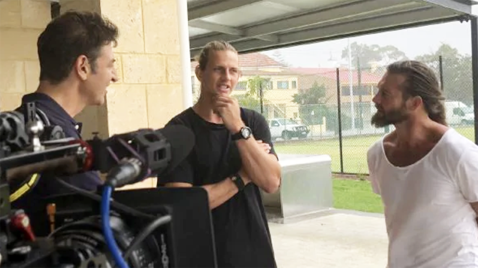 Nat Fyfe and Ben Cousins, pictured here playing tennis in the Channel 7 documentary.