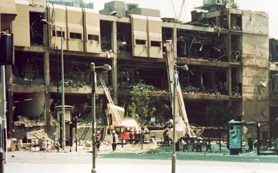 Bomb damage to the Arndale center in Manchester city centre in 1996 - Credit: PA
