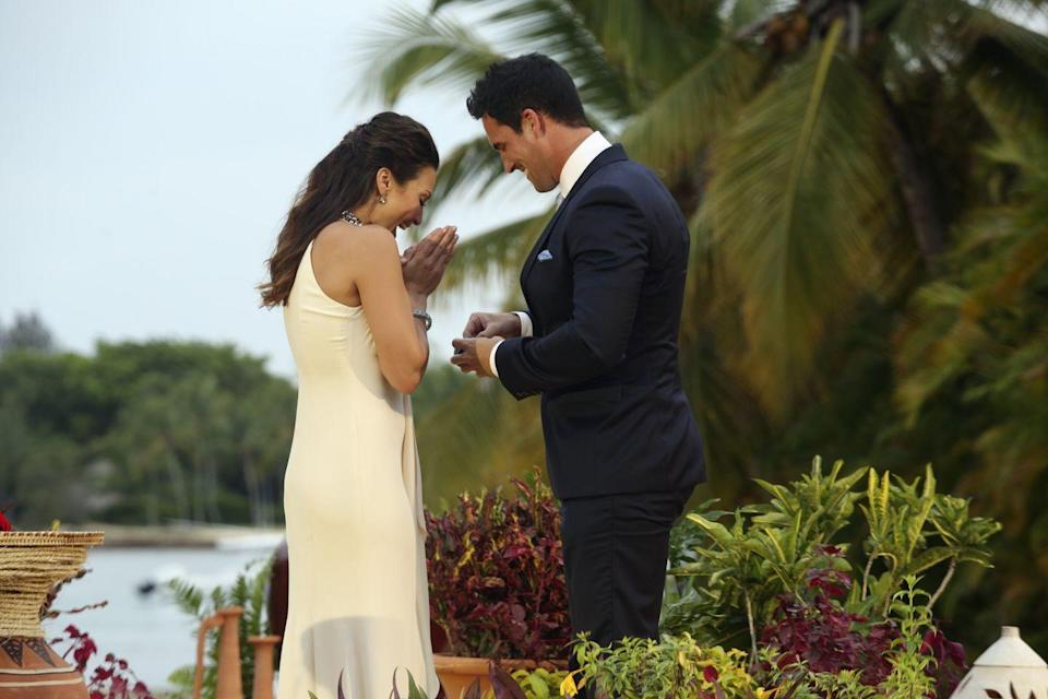 "<p>Andi revealed this amusing fact, <a href=""https://www.bustle.com/articles/179022-17-bachelor-bachelorette-secrets-from-andi-dorfmans-book-that-prove-she-knows-the-definition-of"" rel=""nofollow noopener"" target=""_blank"" data-ylk=""slk:saying"" class=""link rapid-noclick-resp"">saying</a> that while the guy <em>technically</em> picks the ring for the cameras, first the Bachelorette gets to ""practically design [it herself] by dropping hints to producers.""</p>"