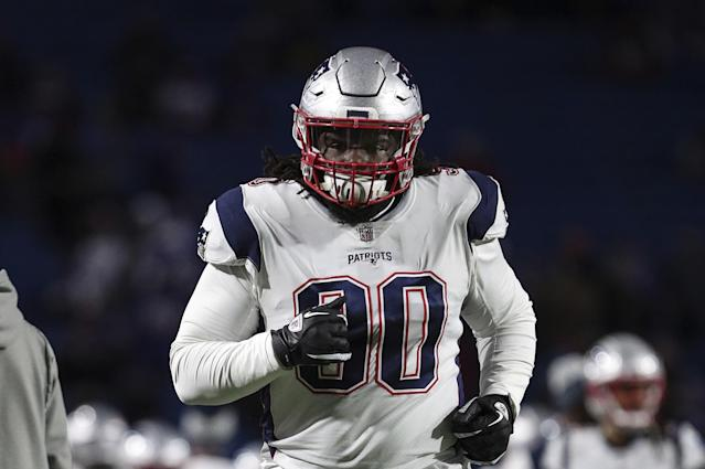New England Patriots defensive lineman Malcolm Brown (90) warms up before Monday Night Football against the Buffalo Bills, October 29, 2018, in Orchard Park, NY. (AP Photo/Chris Cecere)