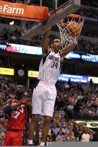Feb 28, 2012; Dallas, TX, USA; Dallas Mavericks forward Brandan Wright (34) dunks the ball in the second quarter against the New Jersey Nets at American Airlines Center.  Mandatory Credit: Matthew Emmons-US PRESSWIRE